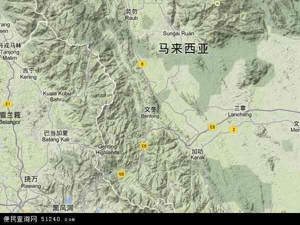 马来西亚彭亨文冬地图(卫星地图)