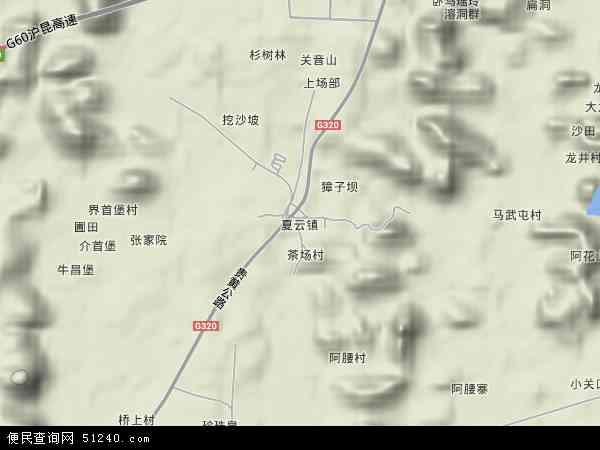 中国贵州省安顺市平坝县夏云镇地图(卫星地图)