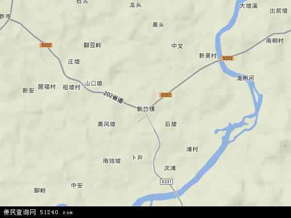 中国海南省省直辖县级行政区划定安县新竹镇地图