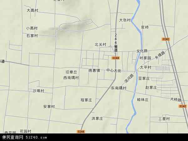中国山东省济南市章丘市绣惠镇地图(卫星地图)