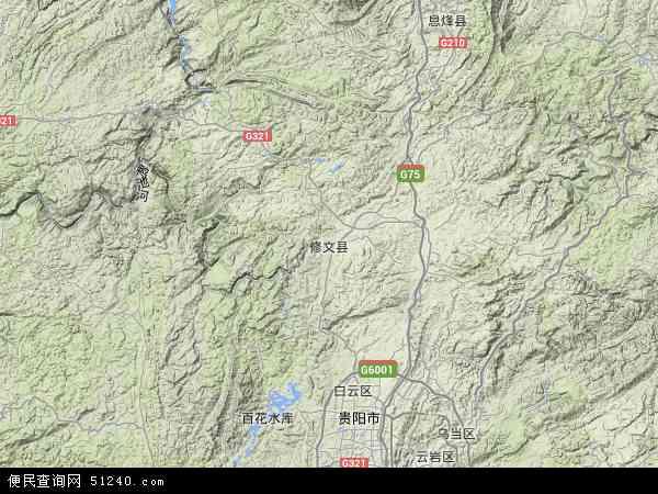 中国贵州省贵阳市修文县地图(卫星地图)