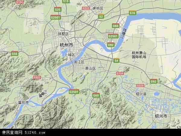 萧山区地形地图