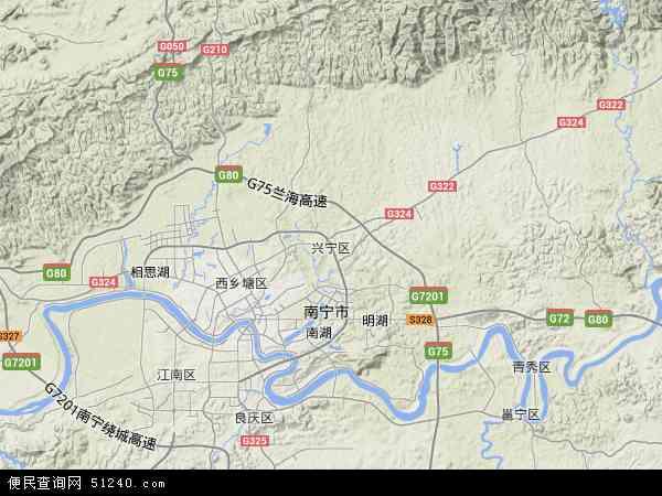 兴宁区2018年卫星地图 中国广西壮族自治区南宁市兴宁区地图