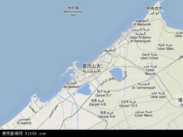 埃及亚历山大地图(卫星地图)
