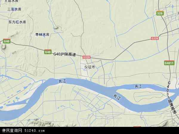 中国江苏省扬州市仪征市地图(卫星地图)