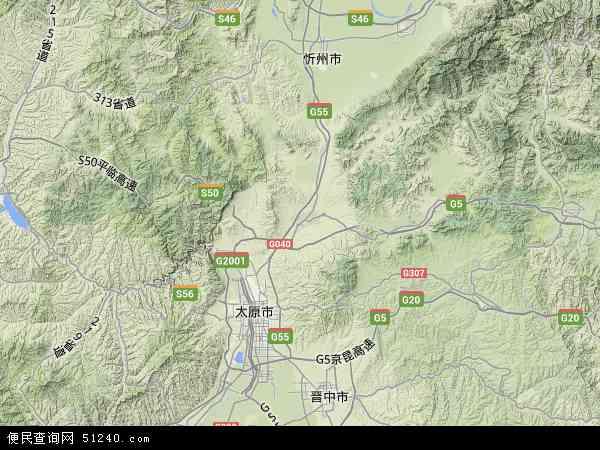 中国山西省太原市阳曲县地图(卫星地图)