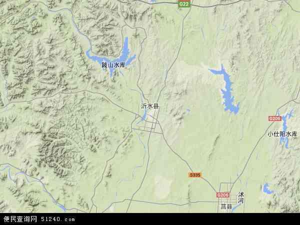 中国山东省临沂市沂水县地图(卫星地图)
