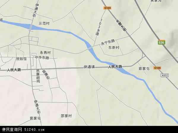 中国吉林省四平市伊通满族自治县伊通镇地图(卫星地图)