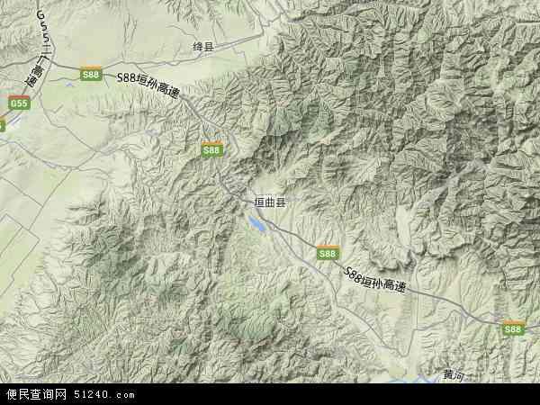 中国山西省运城市垣曲县地图(卫星地图)