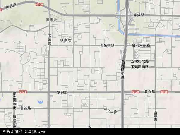 中国北京市海淀区永定路地图(卫星地图)