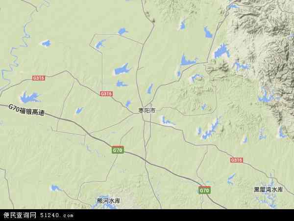 中国湖北省襄阳市枣阳市地图(卫星地图)