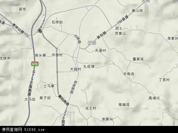 中国贵州省贵阳市修文县扎佐镇地图(卫星地图)
