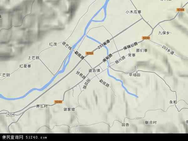 中国云南省德宏傣族景颇族自治州梁河县遮岛镇地图(卫星地图)