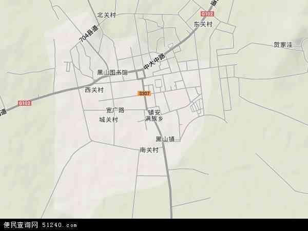 中国辽宁省锦州市黑山县镇安镇地图(卫星地图)