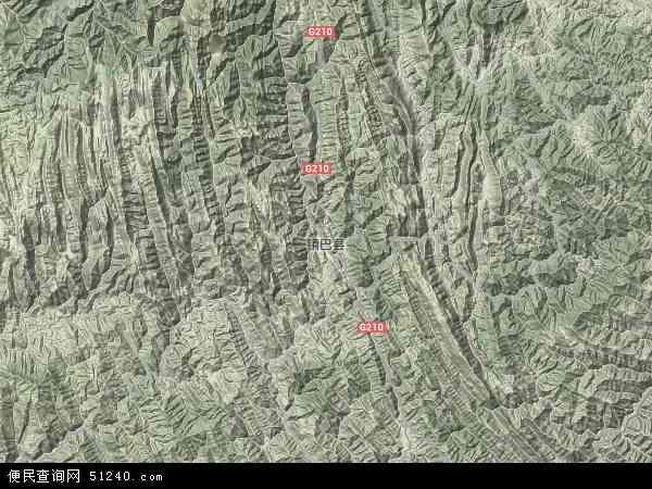 中国陕西省汉中市镇巴县地图(卫星地图)