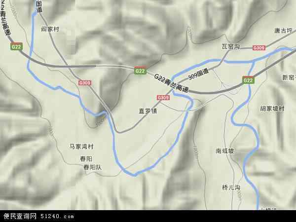中国陕西省延安市富县直罗镇地图(卫星地图)图片
