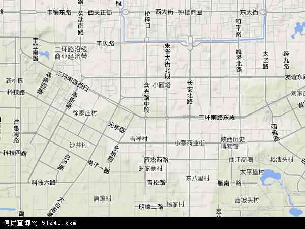 中国陕西省西安市碑林区地图(卫星地图)