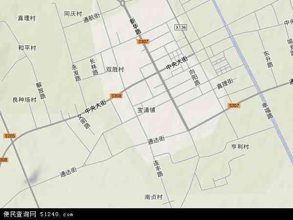 中国黑龙江省双鸭山市宝清县宝清镇地图(卫星地图)图片