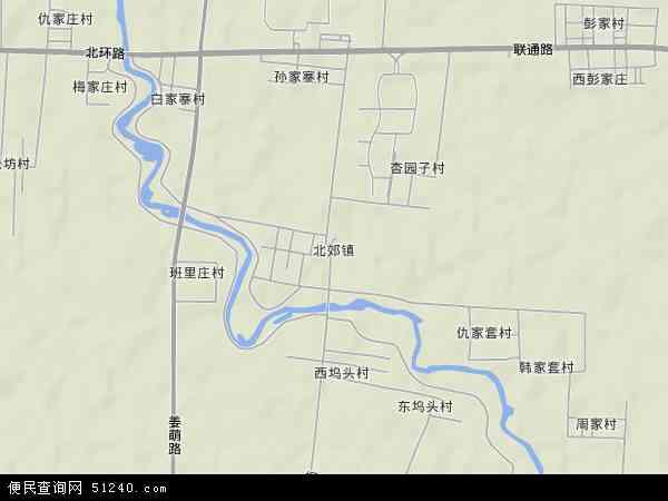中国山东省淄博市周村区北郊镇地图(卫星地图)