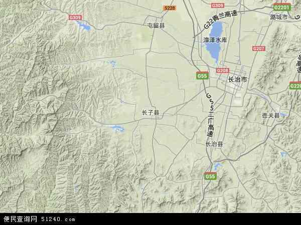 中国山西省长治市长子县地图(卫星地图)