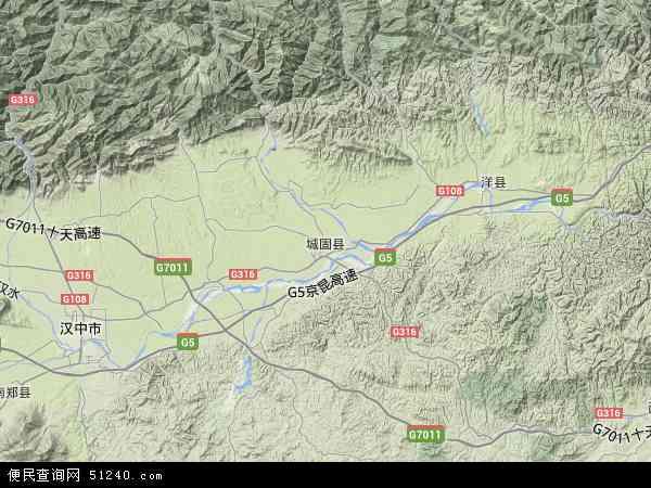 中国陕西省汉中市城固县地图(卫星地图)
