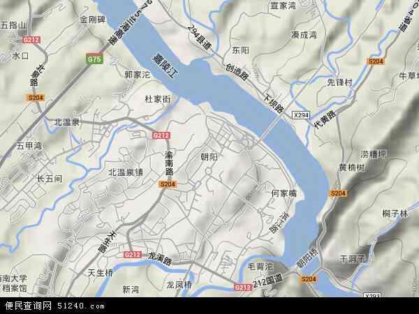 中国重庆市北碚区朝阳地图(卫星地图)