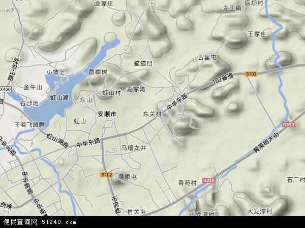 中国贵州省安顺市西秀区东关地图(卫星地图)
