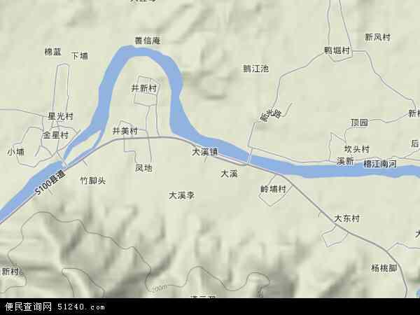 中国广东省揭阳市揭西县大溪镇地图(卫星地图)