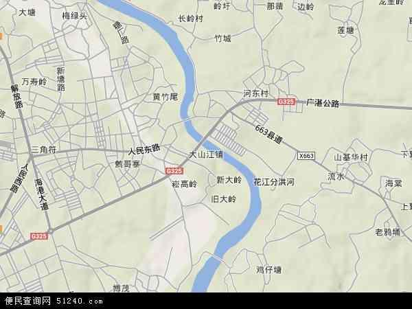 中国广东省湛江市吴川市大山江地图(卫星地图)