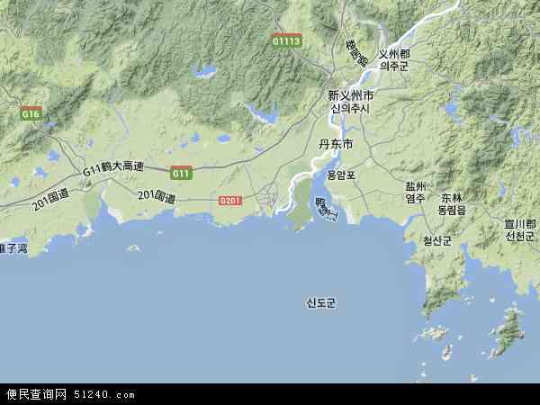 中国辽宁省丹东市东港市地图(卫星地图)