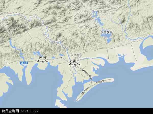 中国广西壮族自治区防城港市东兴市地图(卫星地图)