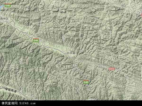 中国陕西省商洛市丹凤县地图(卫星地图)