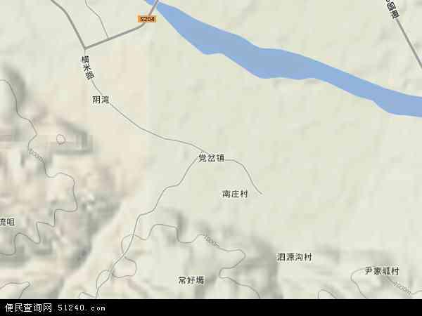 中国陕西省榆林市横山县党岔镇地图(卫星地图)