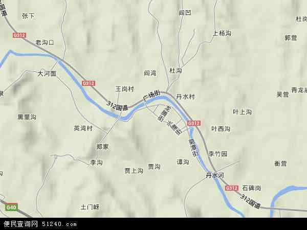 中国河南省南阳市西峡县丹水镇地图(卫星地图)