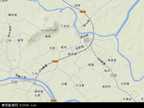 中国广东省江门市台山市端芬镇地图(卫星地图)