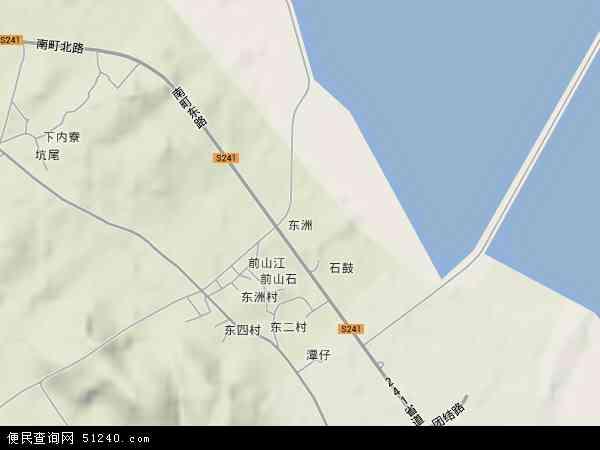 中国广东省汕尾市城区东洲地图(卫星地图)