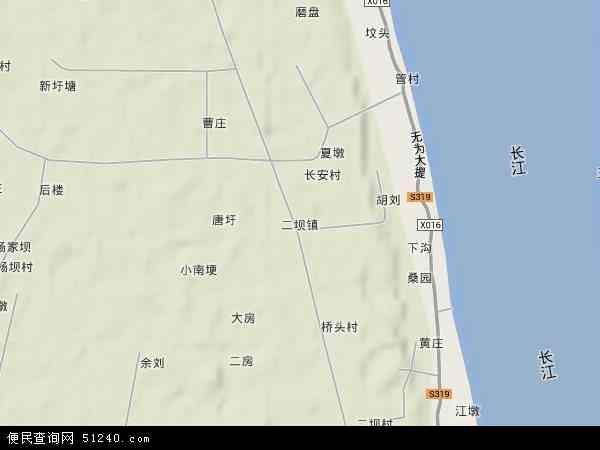 中国安徽省芜湖市鸠江区二坝镇地图(卫星地图)