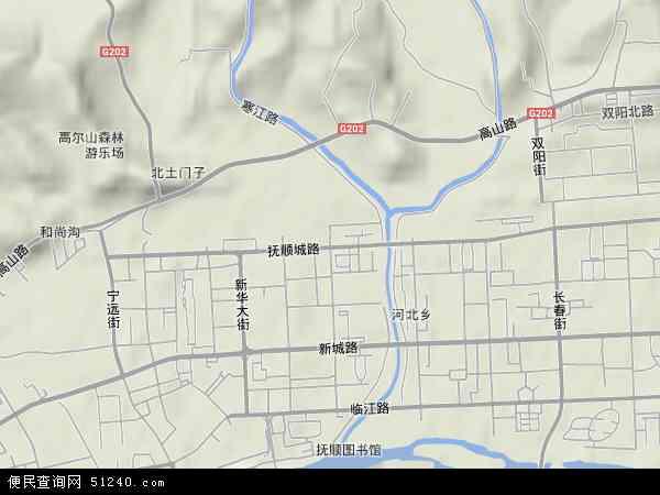 中国辽宁省抚顺市顺城区抚顺城地图(卫星地图)图片