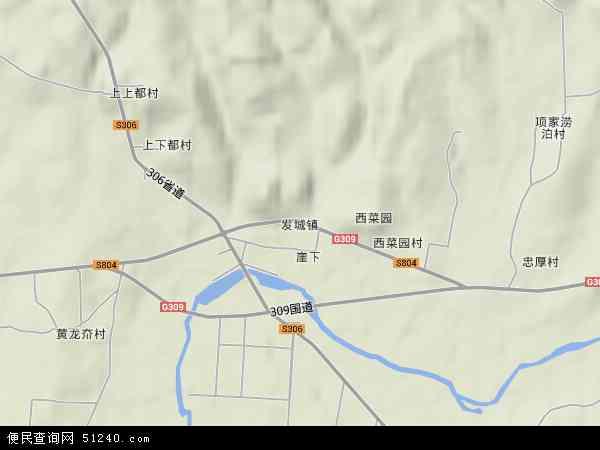 中国山东省烟台市海阳市发城镇地图(卫星地图)