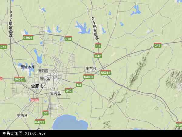 中国安徽省合肥市肥东县地图(卫星地图)