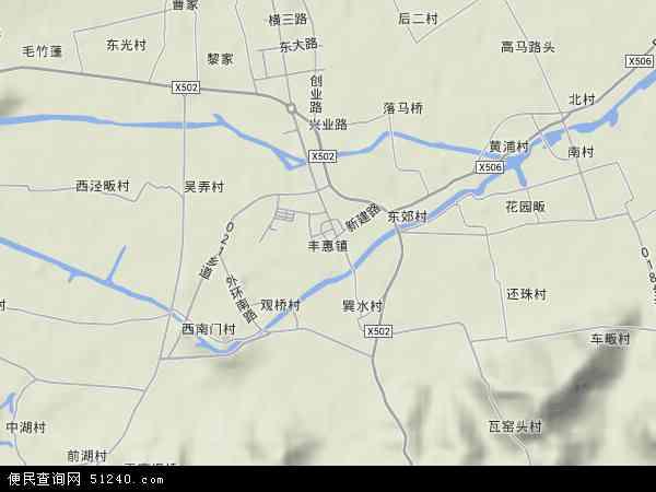 中国浙江省绍兴市上虞市丰惠镇地图(卫星地图)