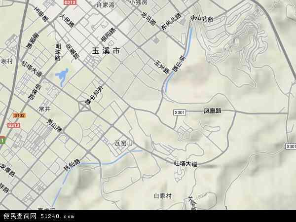 中国云南省玉溪市红塔区凤凰路地图(卫星地图)