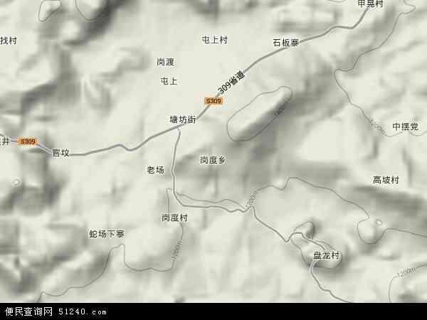 岗度乡地图 - 岗度乡卫星地图 - 岗度乡高清航拍地图