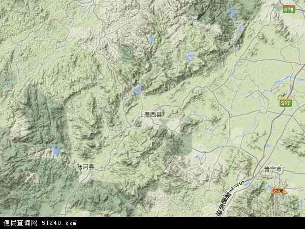 中国广东省揭阳市揭西县果林场地图(卫星地图)