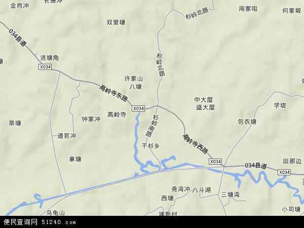 中国湖南省长沙市长沙县干杉镇地图(卫星地图)