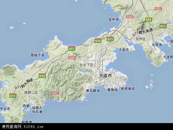 中国辽宁省大连市甘井子区地图(卫星地图)