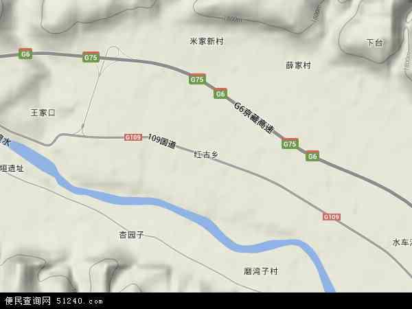 中国甘肃省兰州市红古区红古乡地图(卫星地图)