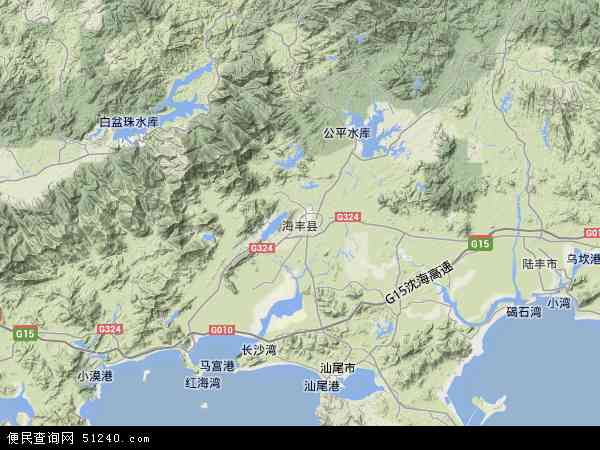 中国广东省汕尾市海丰县地图(卫星地图)