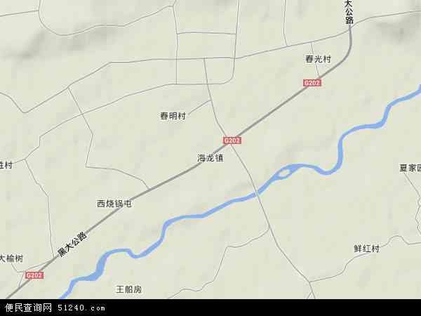 中国吉林省通化市梅河口市海龙镇地图(卫星地图)