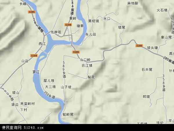 合江镇地形地图